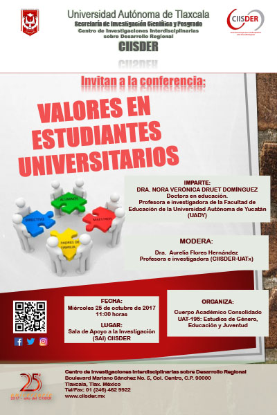 ciisder cartel conferencia valores en estudiantes universitarios